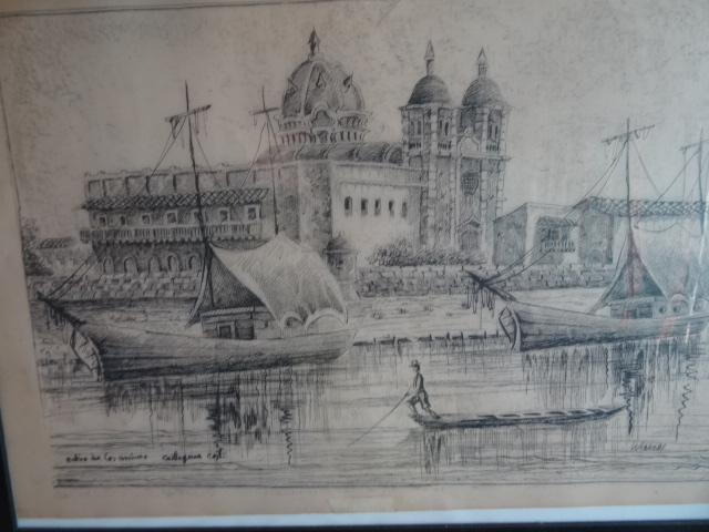 A Sketch of boats and church in Cartagena Colombia. Used in the article Best of Medellin, Cartagena and the Pacific Coast of Colombia.
