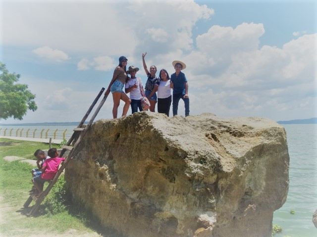 Colombian children on a rock, used on the page South America Travel Photos and Comment Page.